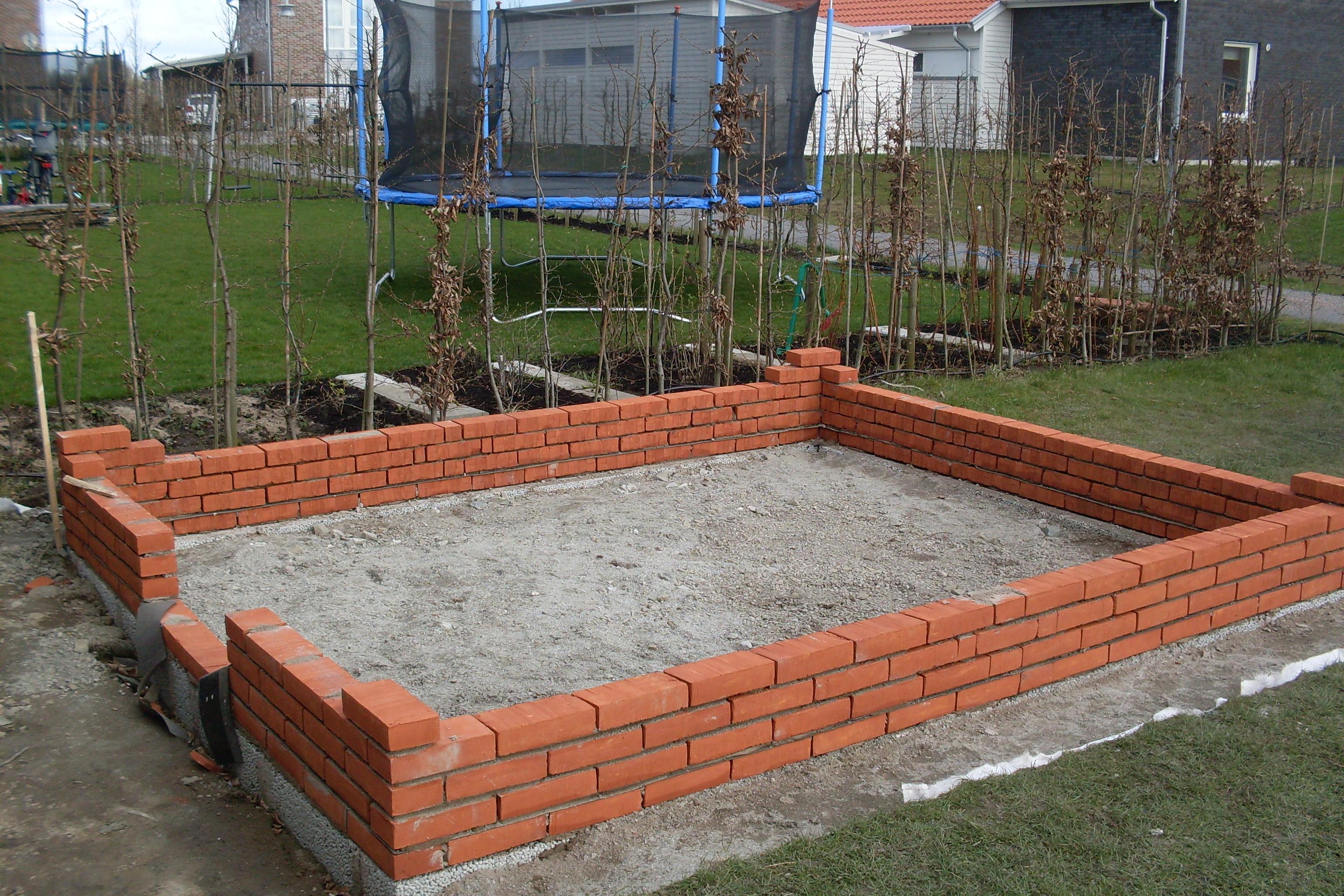 Anlagd grundmur till växthus