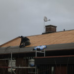 Läggning av takpapp på spånt